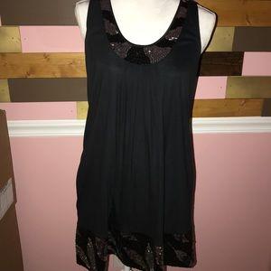Perfect Express Black Silver Sequin Dress Shirt L